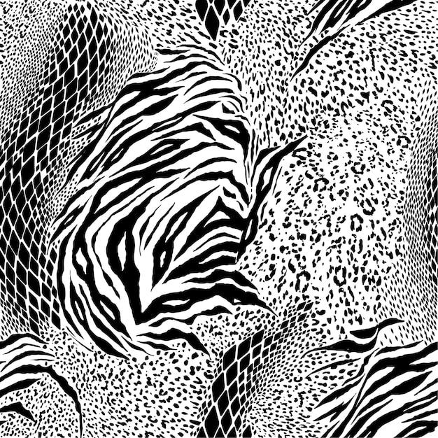 Zwart en wit mixed animal print naadloze patroon vector Premium Vector