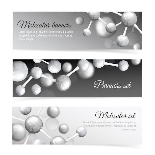 Zwart en wit molecuul banner sjabloon set Gratis Vector
