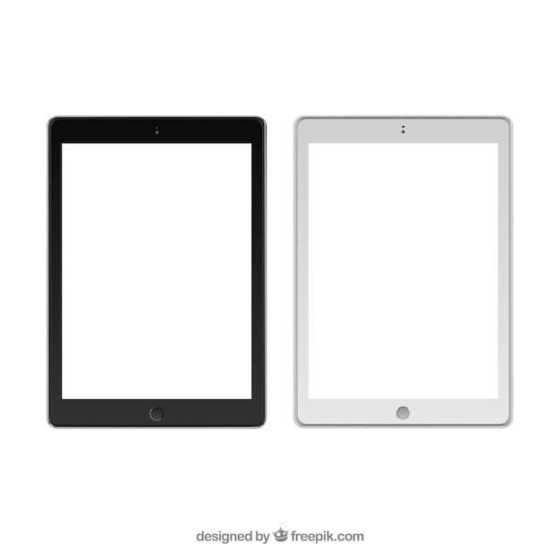 Zwart en wit tablet templates Gratis Vector