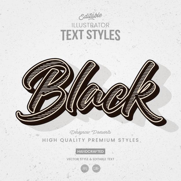 Zwart en wit vintage illustrator-tekststijl Premium Vector