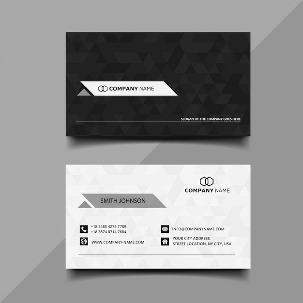 Zwart en wit visitekaartje Premium Vector