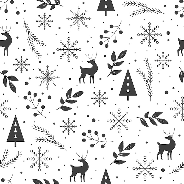 Zwart en wit winterpatroon Premium Vector