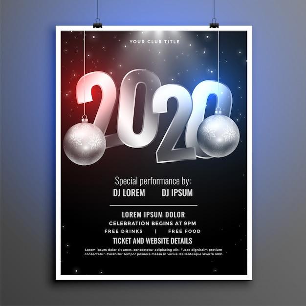 Zwart en zilver 2020 nieuwjaarsfeest folder sjabloon Gratis Vector