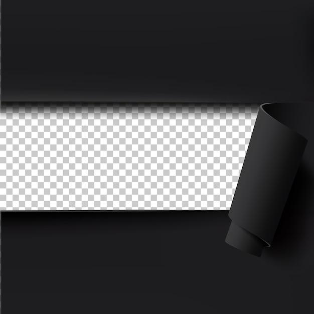 Zwart gescheurd papier achtergrond met lege ruimte voor tekst. Premium Vector