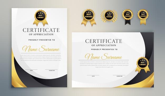 Zwart goud elegante certificaatsjabloon Premium Vector