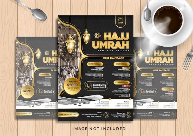 Zwart goud luxe hajj & umrah folder sjabloon in a4-formaat. Premium Vector