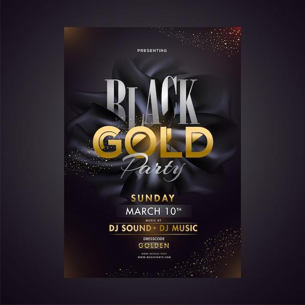 Zwart gouden partij sjabloon of posterontwerp met datum, tijd en v Premium Vector