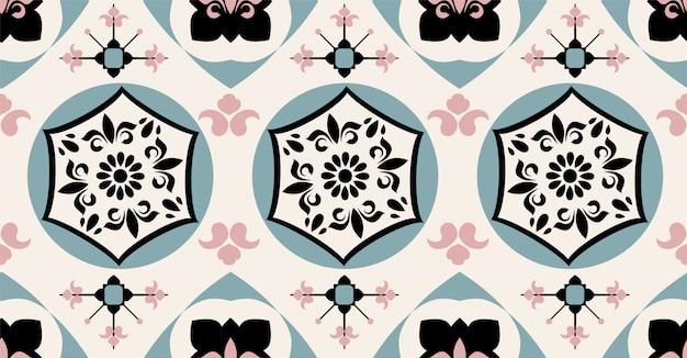 Zwart groen roze room geometrisch naadloos patroon Premium Vector