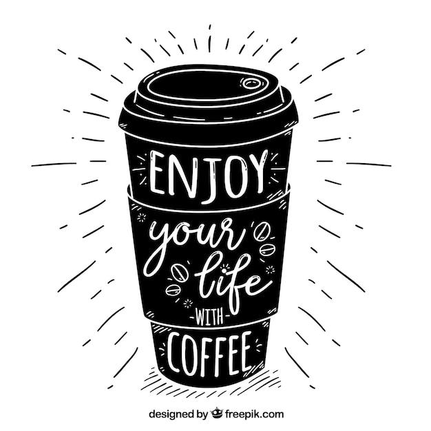 Zwart koffieontwerp met letters Gratis Vector