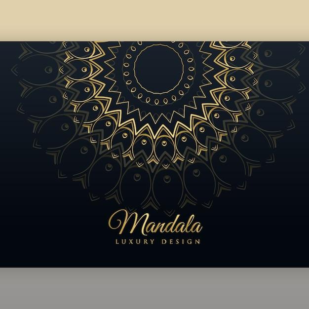 Zwart luxe gouden mandala posterontwerp vector gratis