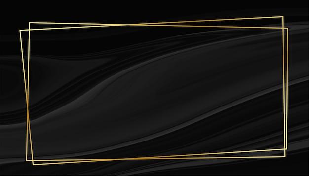 Zwart marmeren stijl achtergrond met gouden frame Gratis Vector