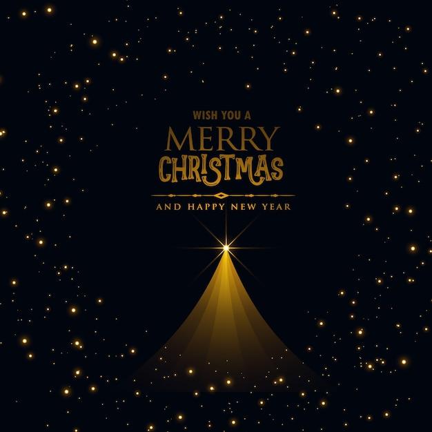 zwart ontwerp van de Kerstmisaffiche met gloeiende Kerstmisboom Gratis Vector
