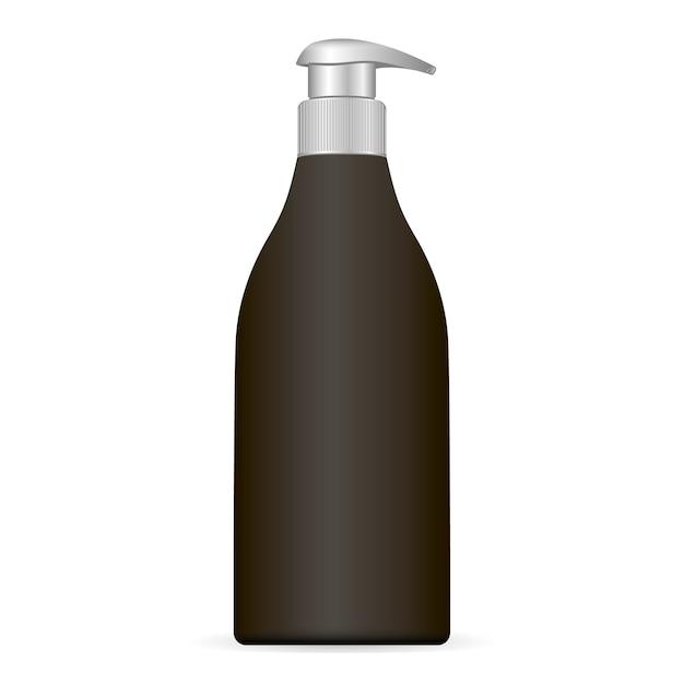 Zwart plastic cosmetische fles met dop van de dop Premium Vector