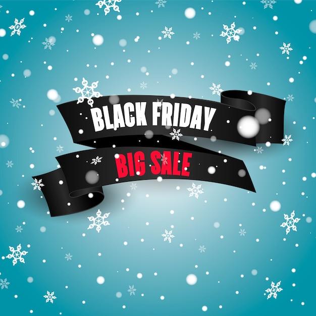 Zwart realistisch gebogen papieren label. black friday-verkoopbanner. Premium Vector