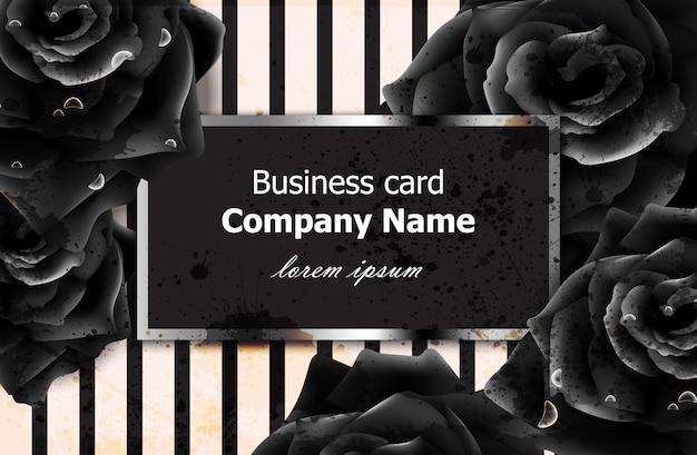 Zwart rozen visitekaartje Premium Vector