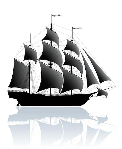 Zwart schip Premium Vector