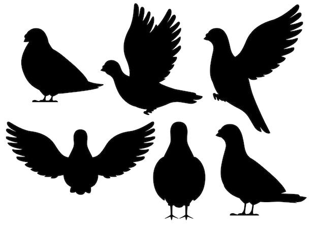 Zwart silhouet. icon set van duif vogel vliegen en zitten. karakter. zwarte vogel pictogram. leuke duif sjabloon. illustratie op witte achtergrond. Premium Vector