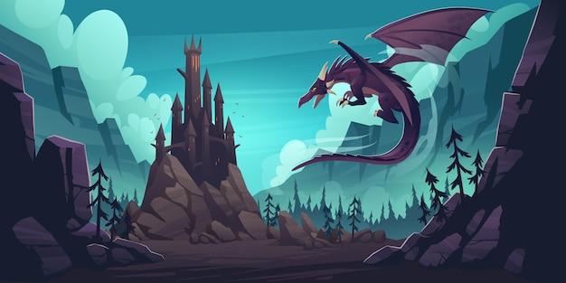 Zwart spookachtig kasteel en vliegende draak in canion met bergen en bos. cartoon fantasie illustratie met middeleeuws paleis met torens, griezelig beest met vleugels, rotsen en pijnbomen Gratis Vector
