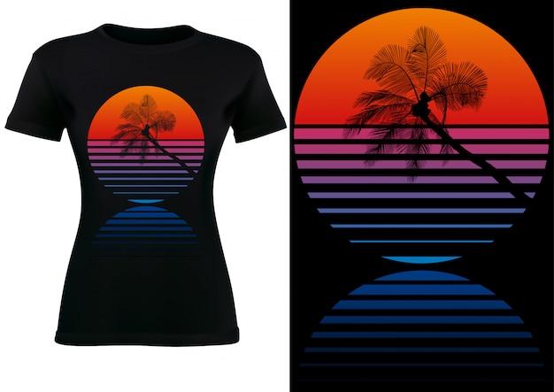 Zwart t-shirtontwerp met tropische palm en zonsondergang Premium Vector
