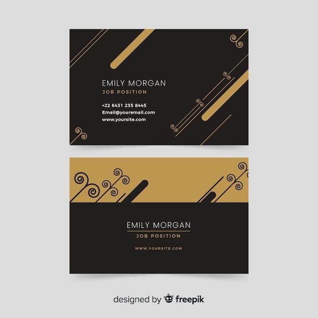 Zwart visitekaartje met gouden elementenmalplaatje Gratis Vector