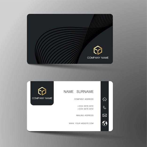 Zwart visitekaartje Premium Vector