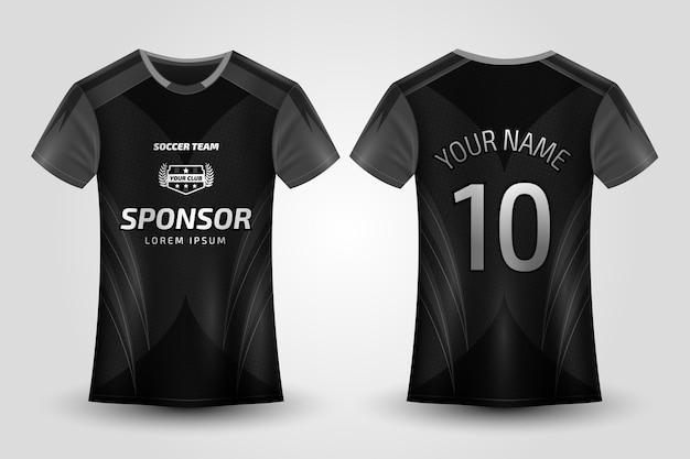 Zwart voetbalshirt uniform Premium Vector