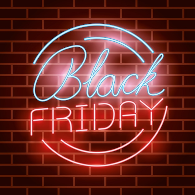 Zwart vrijdag circulair neonlichtenetiket Gratis Vector