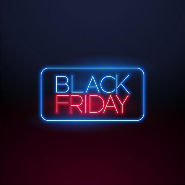 Zwart vrijdag neonlicht Gratis Vector