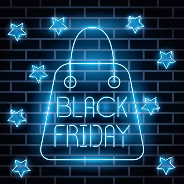 Zwart vrijdag neonlichten label met boodschappentas Gratis Vector