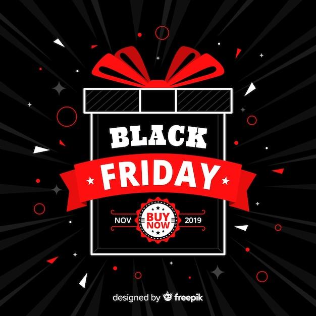 Zwart vrijdagaanbieding in plat ontwerp Gratis Vector