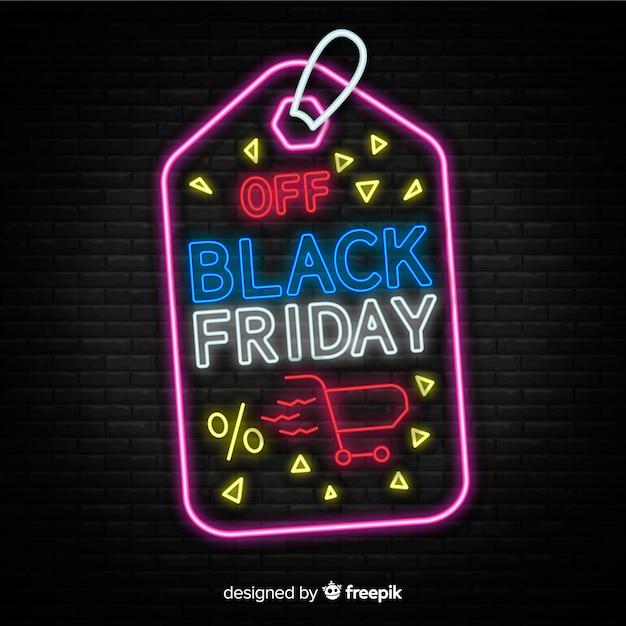 Zwart vrijdagconcept met neonontwerp Gratis Vector