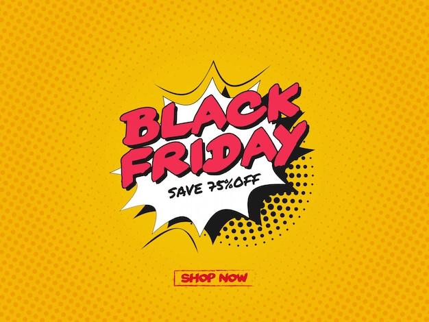 Zwart vrijdagontwerp met cartoon, komische tekstballon in pop-artstijl Premium Vector