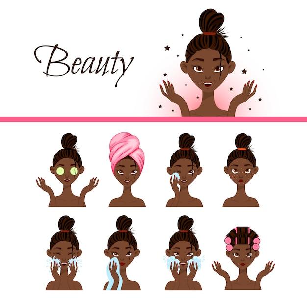 Zwart vrouwelijk karakter met verschillende cosmetische ingrepen voor het gezicht. cartoon stijl. illustratie. Premium Vector