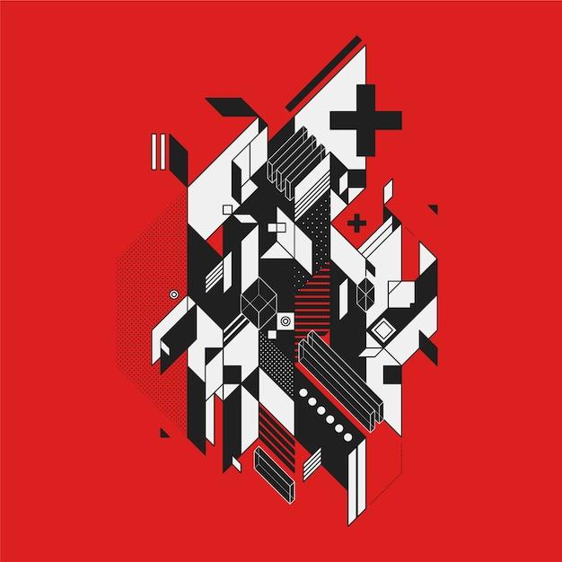 Zwart-wit abstract ontwerp op rode achtergrond Gratis Vector