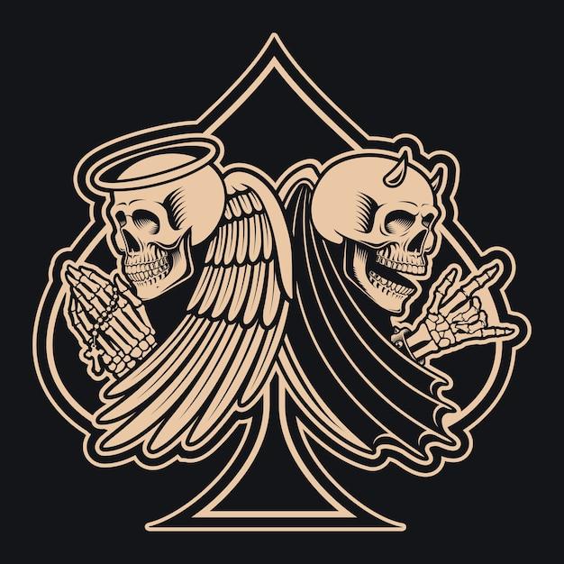 Zwart-wit afbeelding van een skelet van een engel versus een skelet van een duivel, Premium Vector