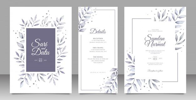 Zwart-wit bladeren bruiloft uitnodiging decorontwerp Premium Vector