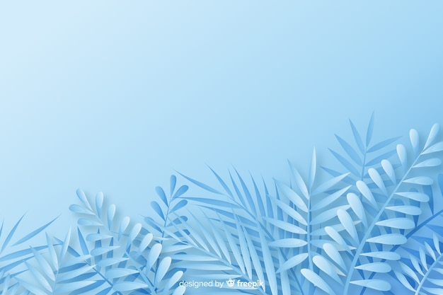 Zwart-wit bladerenachtergrond in document stijl in blauwe schaduwen Gratis Vector