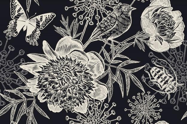 Zwart-wit bloemen naadloze achtergrond. pioenen, vogels, kevers en vlinders. wijnoogst. Premium Vector