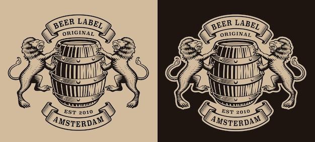 Zwart-wit brouwerijembleem met een vat en leeuwen Premium Vector