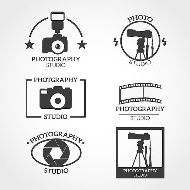 Zwart-wit camera logo Gratis Vector