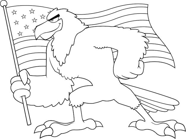 Zwart-wit eagle bird stripfiguur amerikaanse vlag zwaaien. illustratie geïsoleerd op een witte achtergrond Premium Vector
