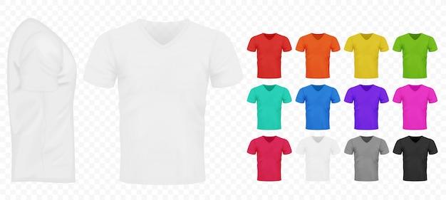 Zwart, wit en andere eenvoudige kleuren heren eenvoudige t-shirts set. Premium Vector