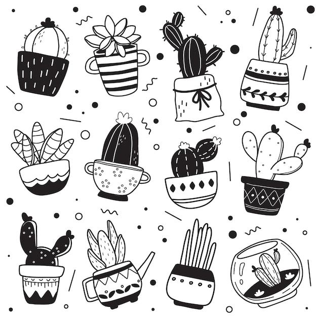 Zwart-wit hand getekend cactus patroon Premium Vector