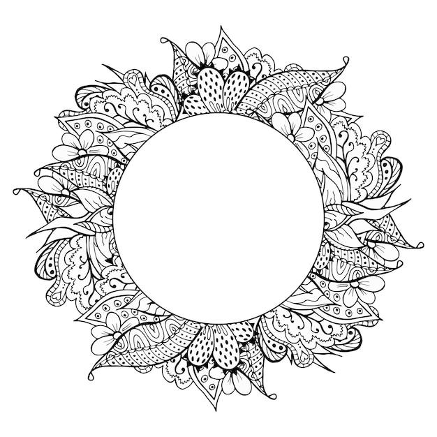 Zwart-wit hand getrokken doodle frame Premium Vector