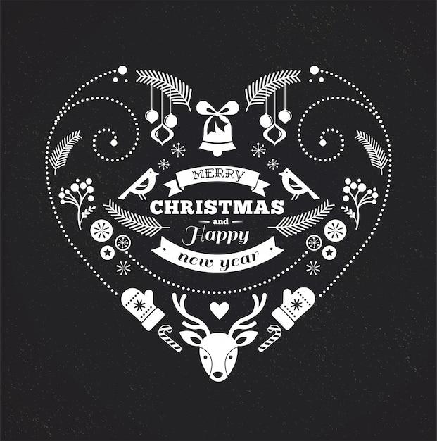Zwart-wit hartvormige prettige kerstdagen en gelukkig nieuwjaar sjabloon. Premium Vector
