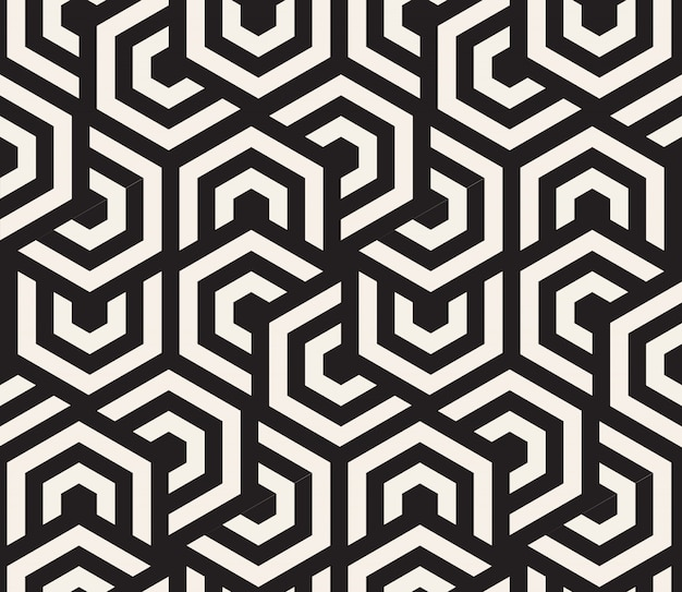 Zwart-wit hypnotische achtergrond. abstracte naadloze patroon. illustratie Premium Vector