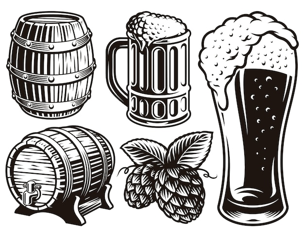Zwart-wit illustraties voor bierthema Premium Vector