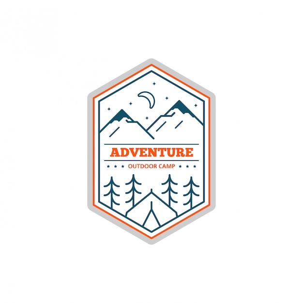 Zwart-wit line camp-badge. bergbeklimmen en boskamp embleem. Premium Vector