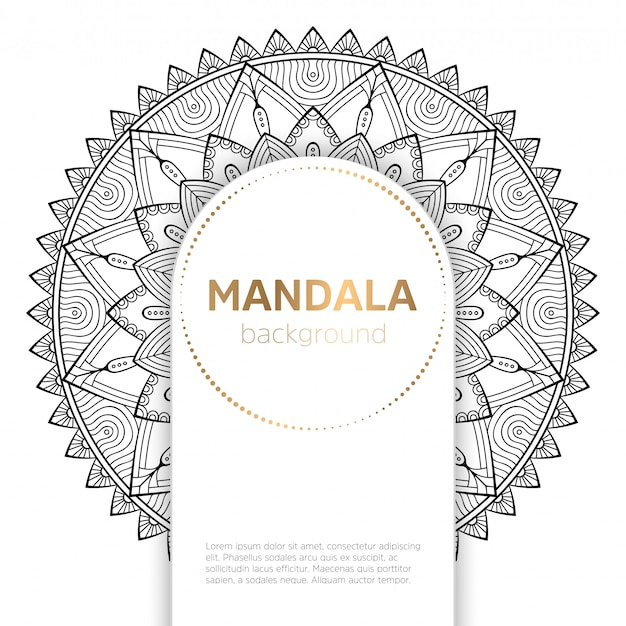 Zwart-wit mandala sjabloon achtergrond Gratis Vector