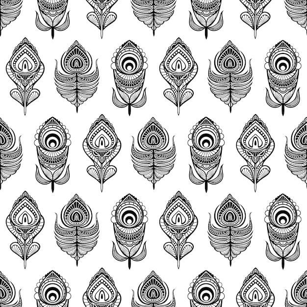 Zwart-wit mandala veren naadloos patroon voor afdrukken Premium Vector